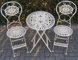 Art  Nouveau Garden Furniture Set Old White - 1 Table, 2 Chairs