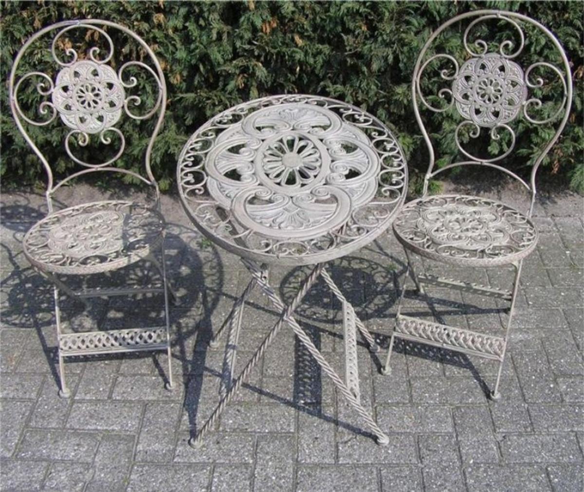 jugendstil gartenmöbel set french gray - 1 tisch, 2 stühle - eisen, Garten und bauen