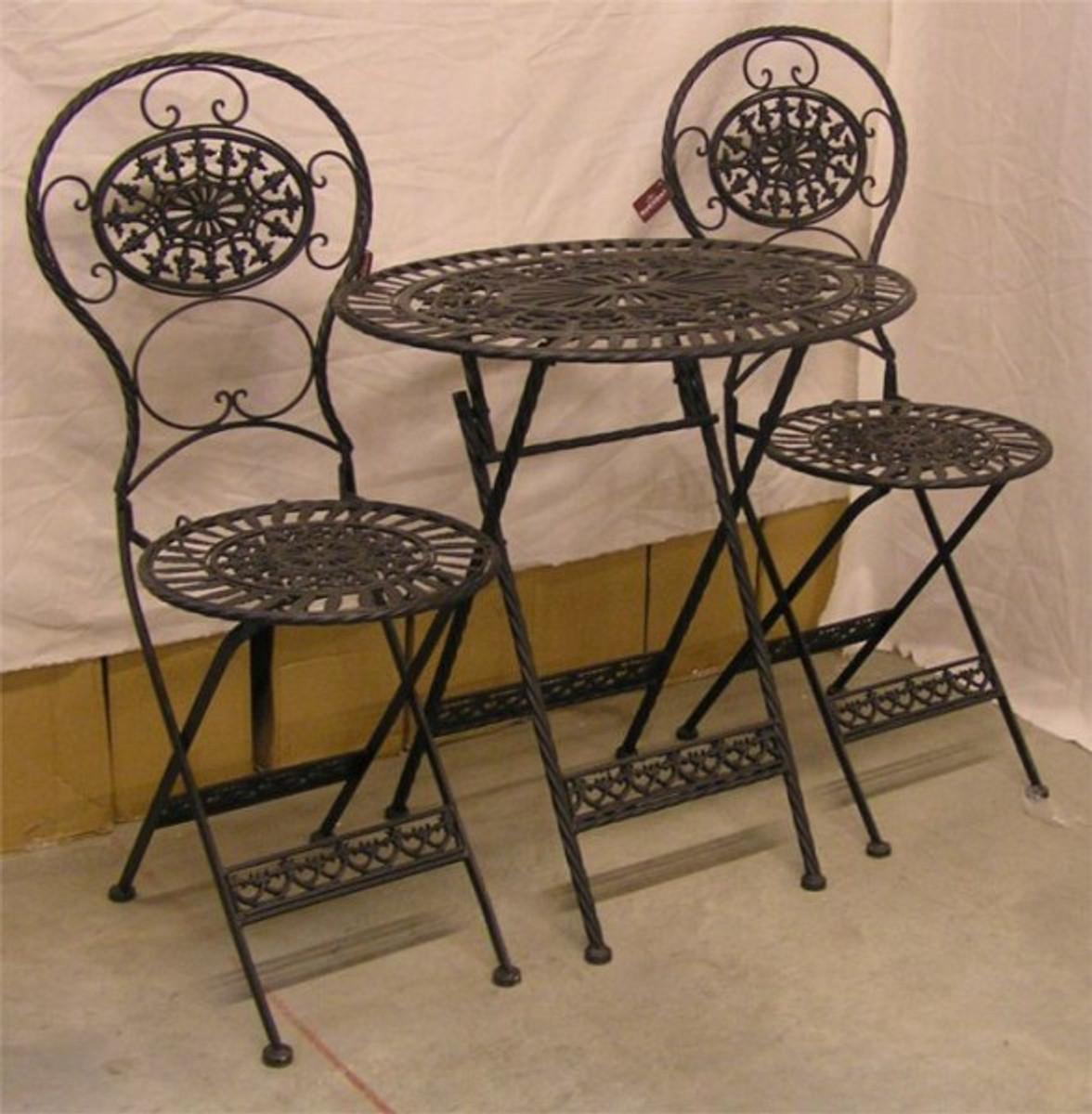 jugendstil gartenm bel set old black 1 tisch 2 st hle eisen gartenm bel fen deko. Black Bedroom Furniture Sets. Home Design Ideas