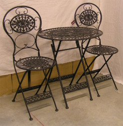 Art  Nouveau Garden Furniture Set Old Black - 1 Table, 2 Chairs