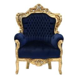 """Barock Sessel """"King"""" Royalblau/Gold"""