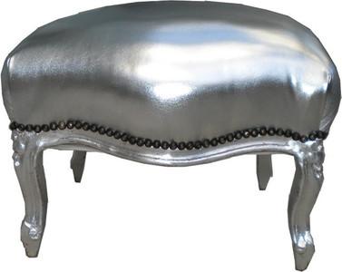 Barock Sitzhocker Silber / Silber Medium – Bild 1