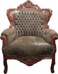 "Casa Padrino Baroque Armchair ""King"" Brown leather look / Brown"