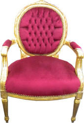 Baroque salon chair Bordeaux / Gold Mod2