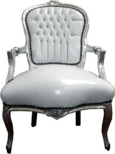 casa padrino barock salon stuhl wei silber lederoptik m bel antik stil st hle barock st hle. Black Bedroom Furniture Sets. Home Design Ideas