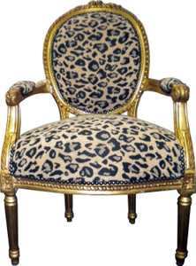 Baroque salon chair leopard pattern2 / gold Mod2 – Bild 1