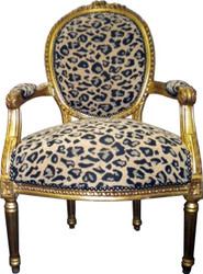 Baroque salon chair leopard pattern2 / gold Mod2