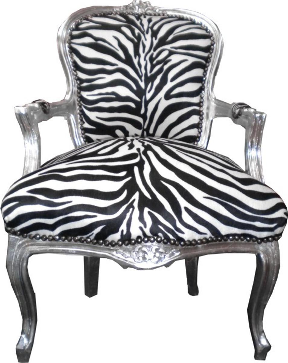 Baroque salon chair zebra silver chairs baroque chairs - Salon baroque ...