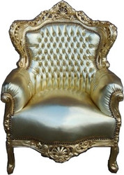 "Baroque Armchair ""King"" Gold / Gold Leather Look"