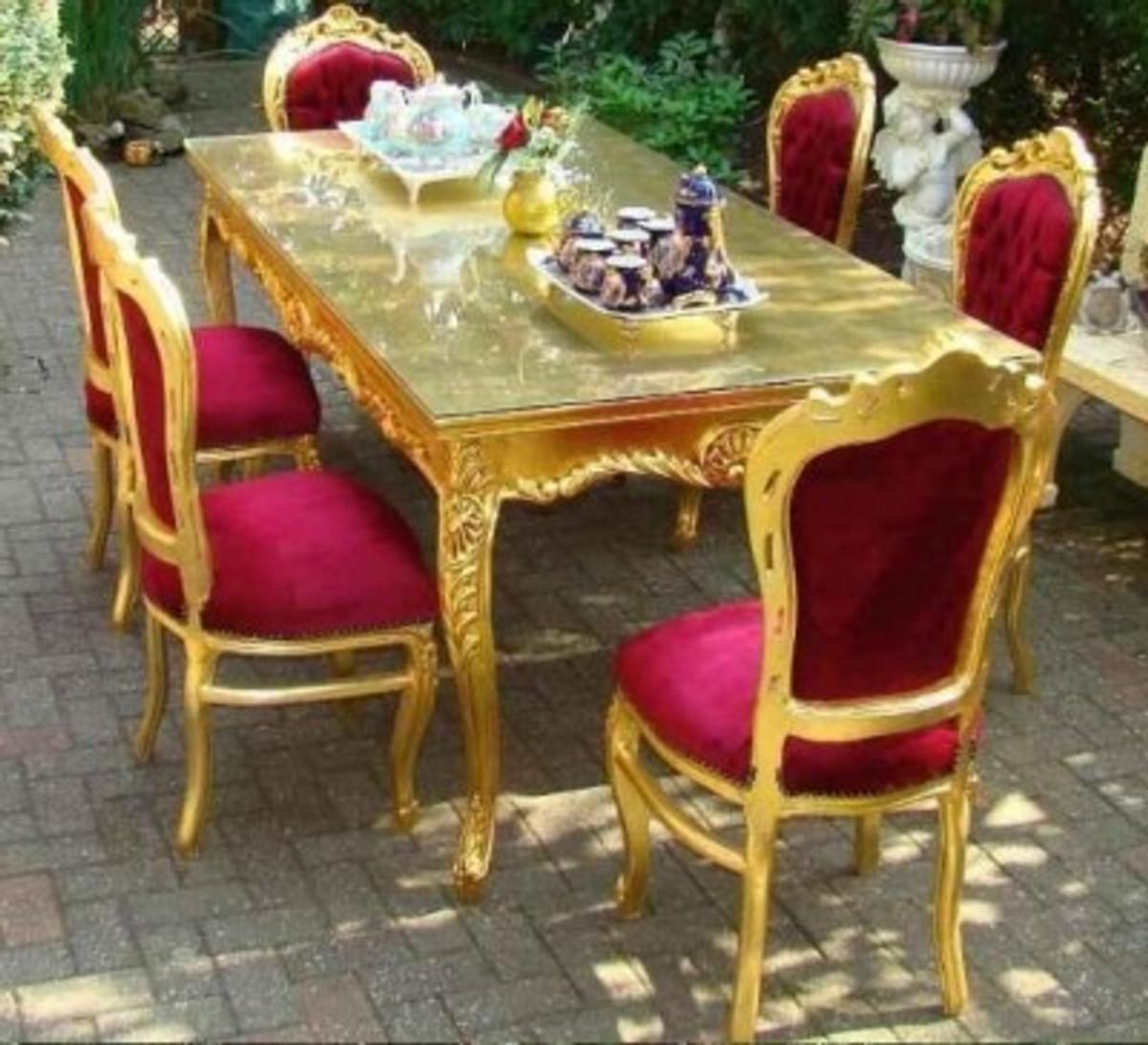 Casa Padrino Barock Esszimmerset Bordeaux/Gold - Esstisch + 6 Stühle 1
