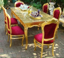 Baroque Dining Room Set Bordeaux/Gold - Dining Table + 6 Chairs