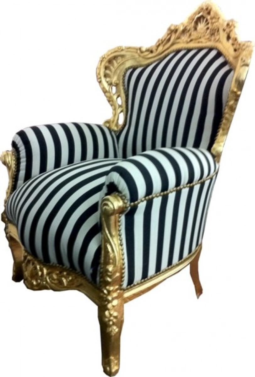 barock sessel king schwarz wei streifen gold sessel. Black Bedroom Furniture Sets. Home Design Ideas