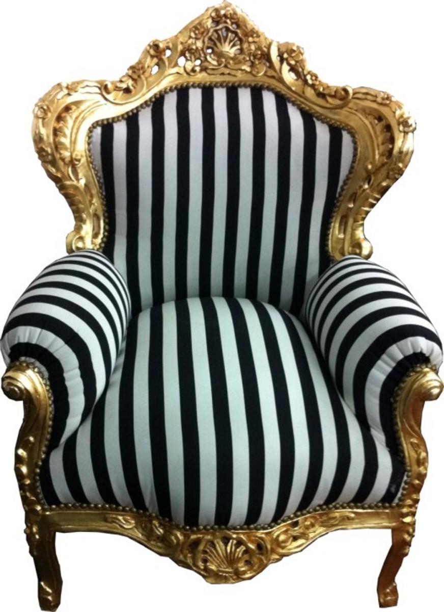 Barock Sessel King Schwarzweiß Streifen Gold Sessel