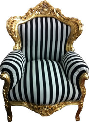 "Baroque Armchair ""King"" Black / White Stripes / Gold"