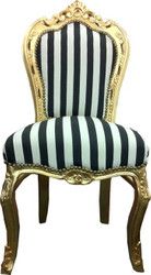 Baroque dining room chair black / white stripes / gold