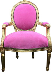 Casa Padrino Baroque salon chair Rose / Gold Mod2
