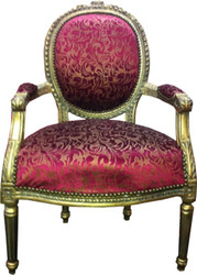 Salon Chair Purple Pattern / Gold Mod2