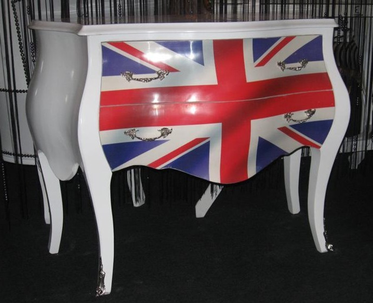 barock kommode union jack weiss 100cm kommoden. Black Bedroom Furniture Sets. Home Design Ideas