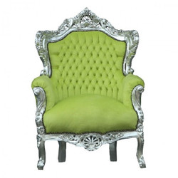 Baroque armchair King jade / silver