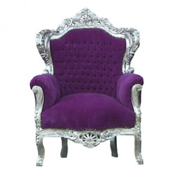 "Baroque Armchair ""King"" Purple / Silver"