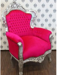 "Baroque Armchair ""King"" Pink / Silver"