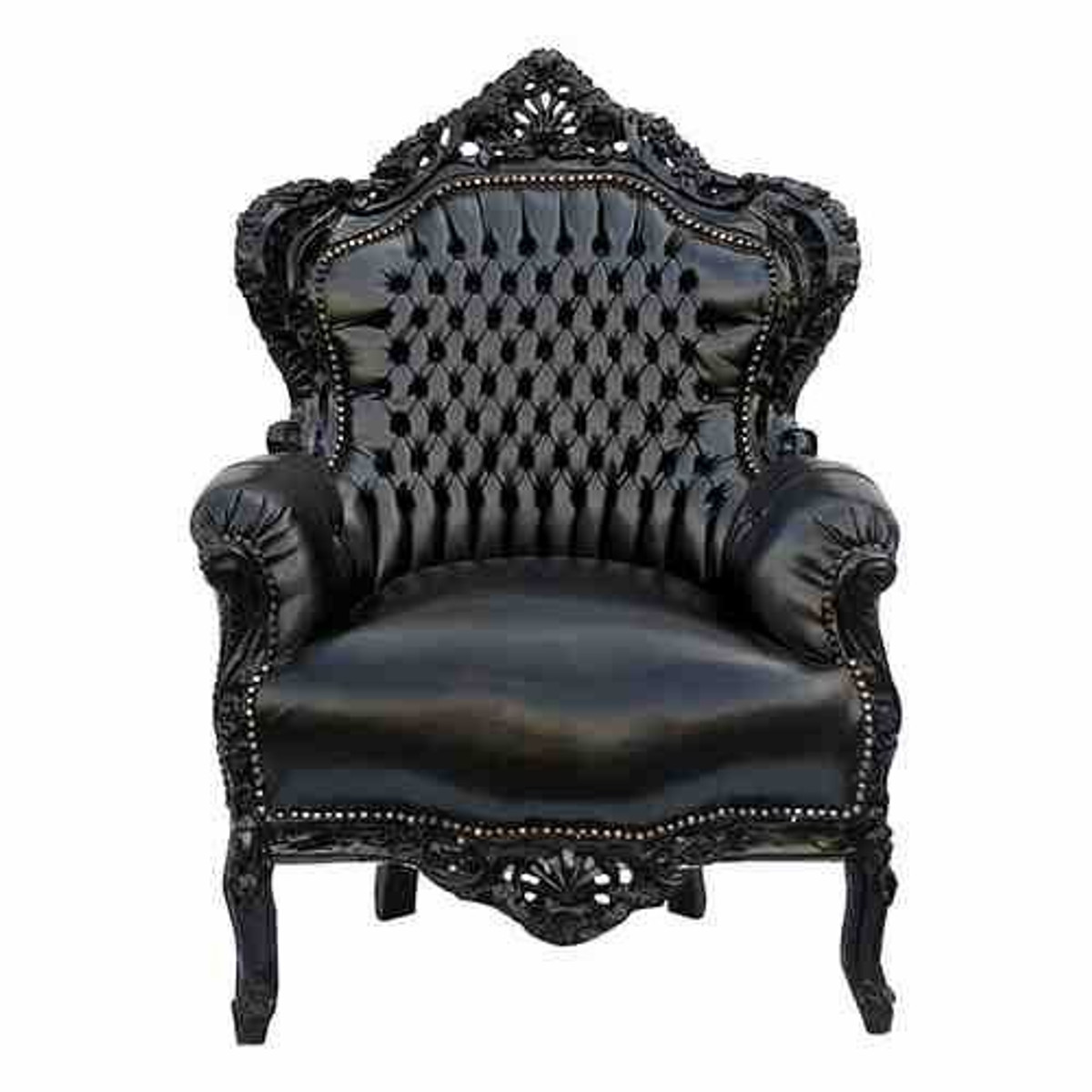 casa padrino barock sessel king schwarz schwarz lederoptik sessel barock sessel king. Black Bedroom Furniture Sets. Home Design Ideas