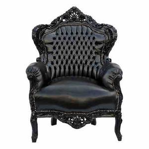 casa padrino barock sessel king schwarz schwarz lederoptik sessel barock sessel modell king. Black Bedroom Furniture Sets. Home Design Ideas