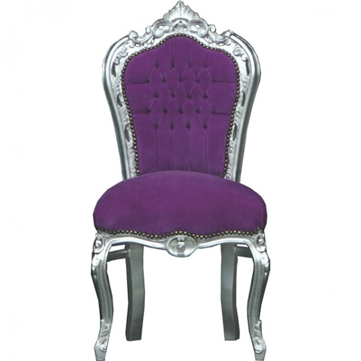 Casa Padrino Barock Esszimmer Stuhl Lila/Silber - Möbel 1