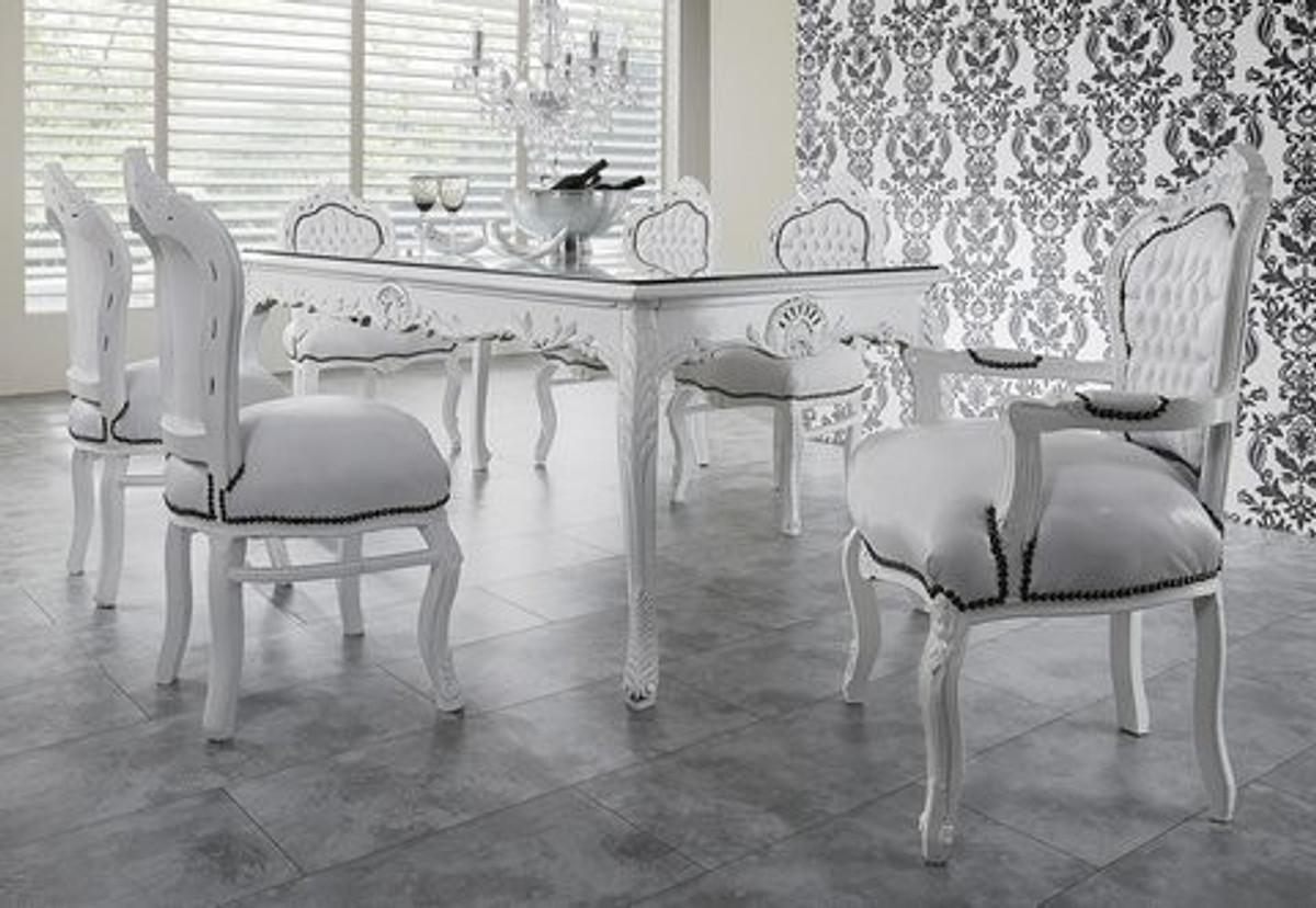 casa padrino barock esszimmer set wei wei esstisch 6 st hle esszimmer sets. Black Bedroom Furniture Sets. Home Design Ideas