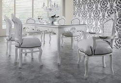 Baroque Dining Room Set White/White - Dining Table + 6 Chairs