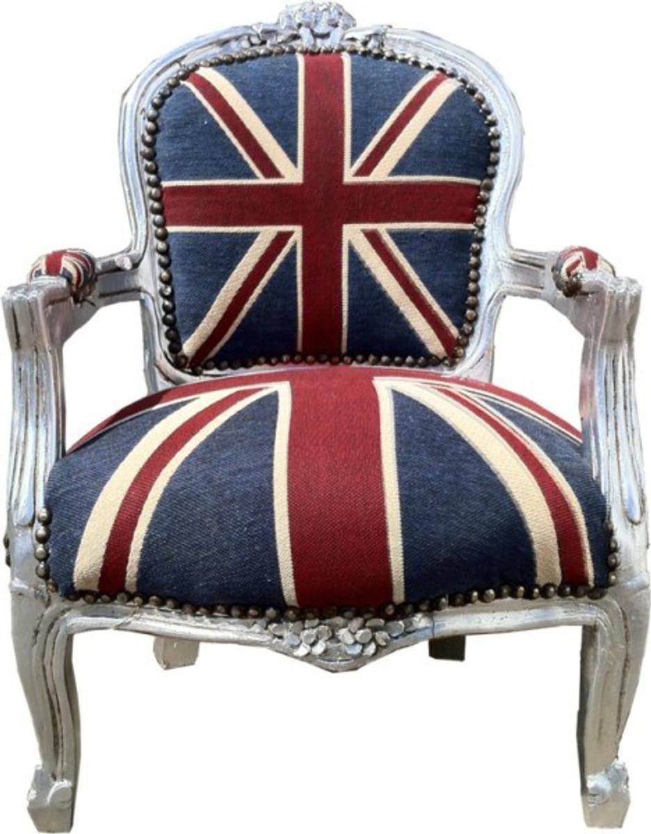Barock Kinder Stuhl Union Jack/Silber - Armlehnstuhl 1