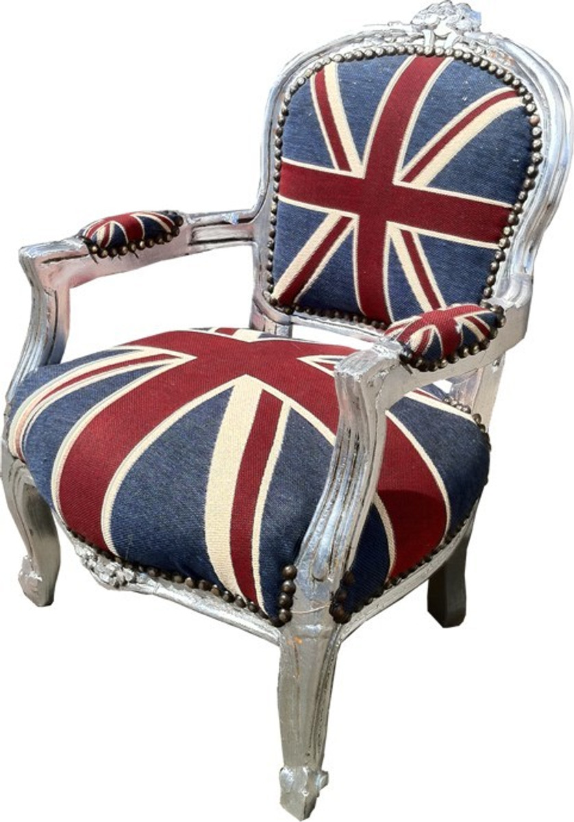 Barock Kinder Stuhl Union Jack/Silber - Armlehnstuhl 2