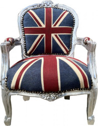 Baroque Kids Armchair Union Jack/Silver