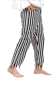 Captain Clegg Striped Piraten Hose - Black - White