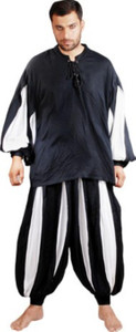 European Medieval Piraten Hose - Black - White