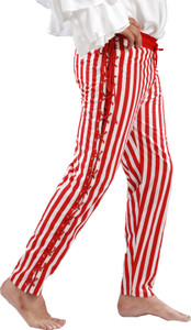 Sidestring Striped Piraten Hose - Red - White