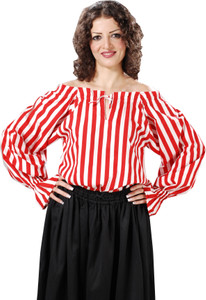 Anne Bonney Striped Piraten Bluse - Red - White