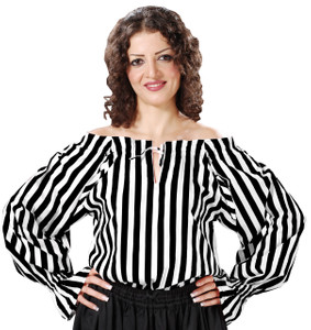 Anne Bonney Striped Piraten Bluse - Black - White