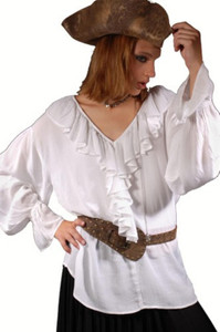 Barbarossa Piraten Mittelalter Bluse - White