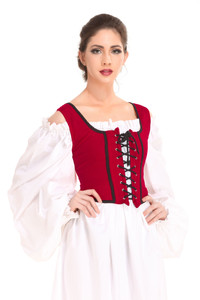 Reversible Wench Piraten / Mittelalter Mieder - Red - Black – Bild 3