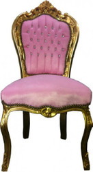 Baroque Dining Chair Pink / Gold Bling Bling Stones