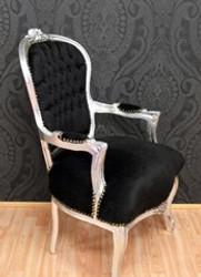 Baroque Salon chair black / silver
