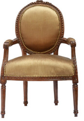 Baroque salon chair Brown-Okka/Gold stripe / brown Mod2
