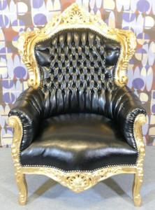 Barock Sessel King Schwarz Gold Lederoptik Sessel