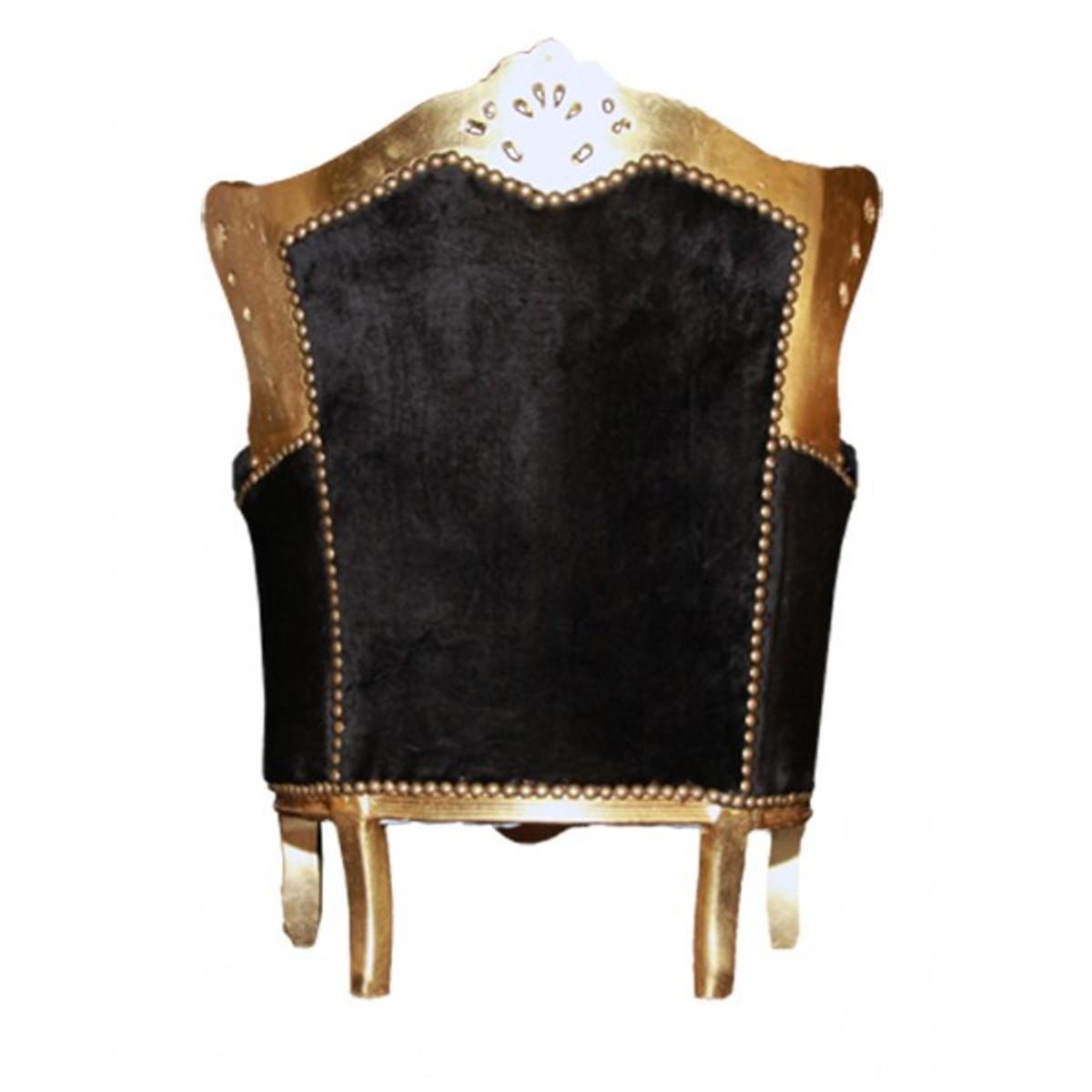 Barock Kinder Sessel Schwarz/Gold 4