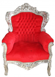 "Casa Padrino Baroque Armchair ""King"" Red / Silver"