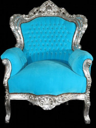Baroque armchair King Turquoise / Silver