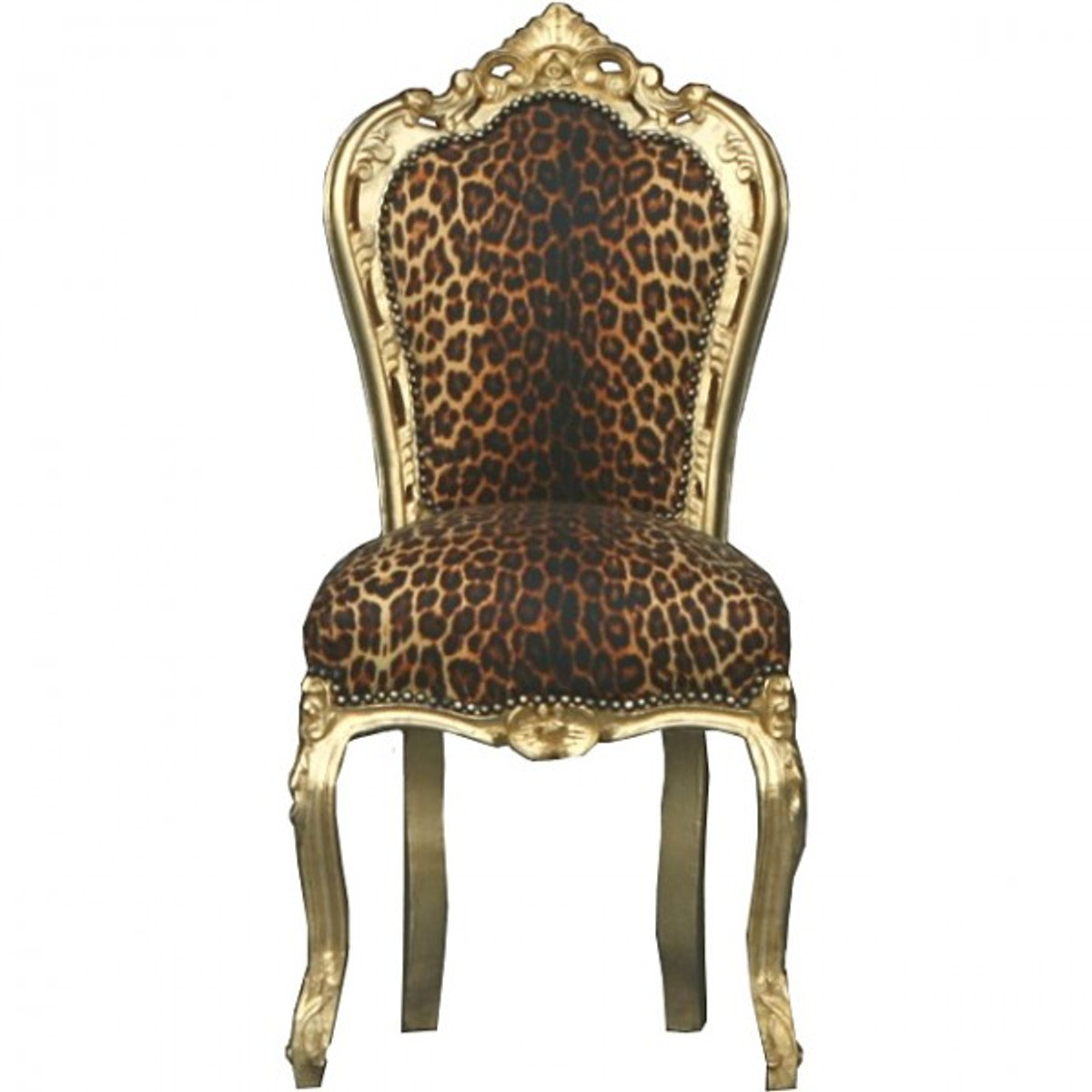 Casa Padrino Barock Esszimmer Stuhl Leopard / Gold - Möbel Stühle ...