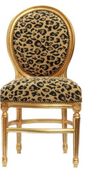 Baroque dining room chair leopard round Mod2/Gold