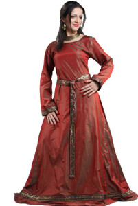 Isabel Silk Renaissance Kleid - Red – Bild 2
